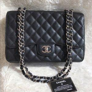 Authentic Chanel CF Jumbo Single Flap Black Caviar